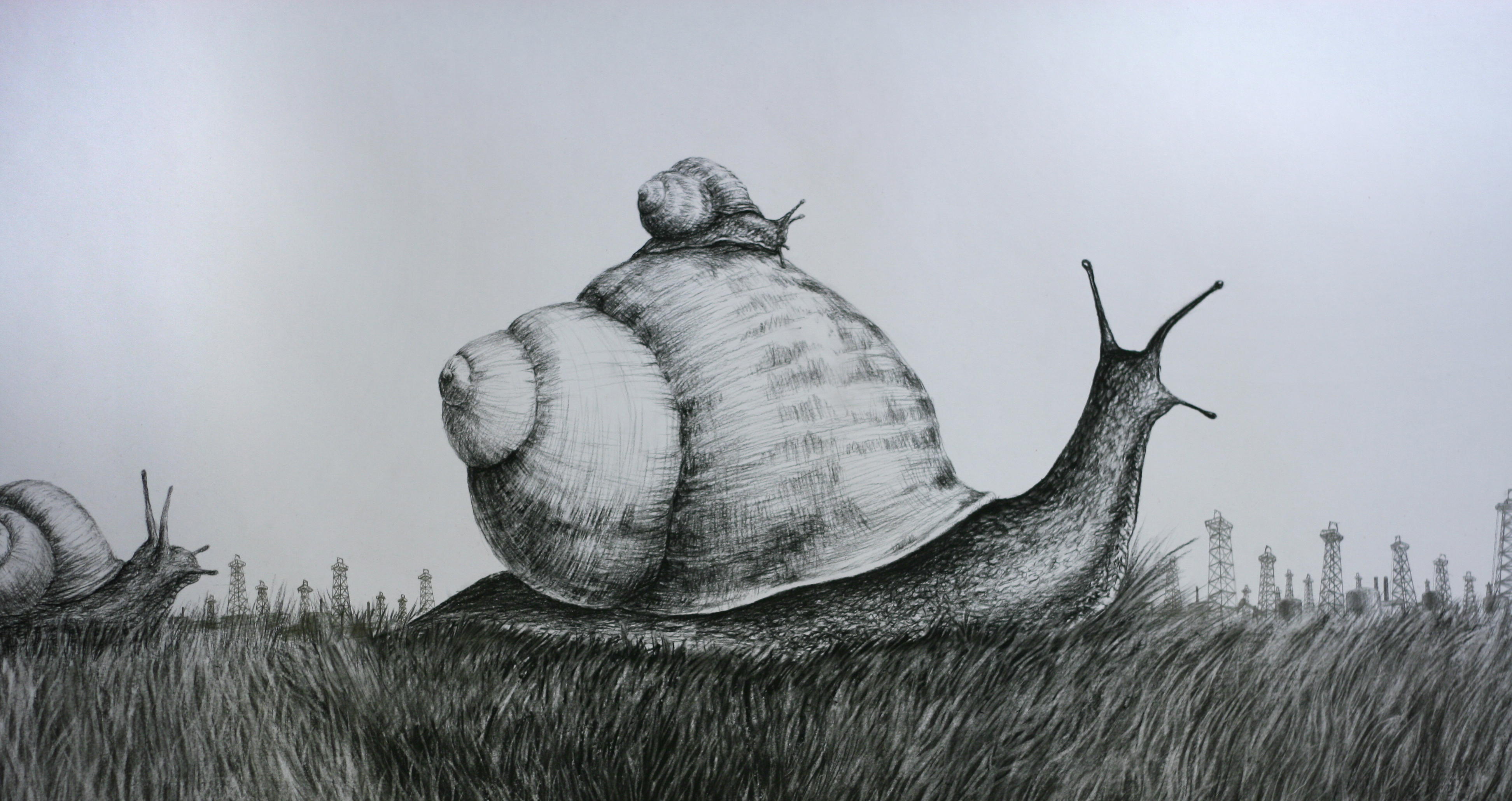 """Unexpected Dividends"" 25x50 charcoal and graphite on paper 2013"