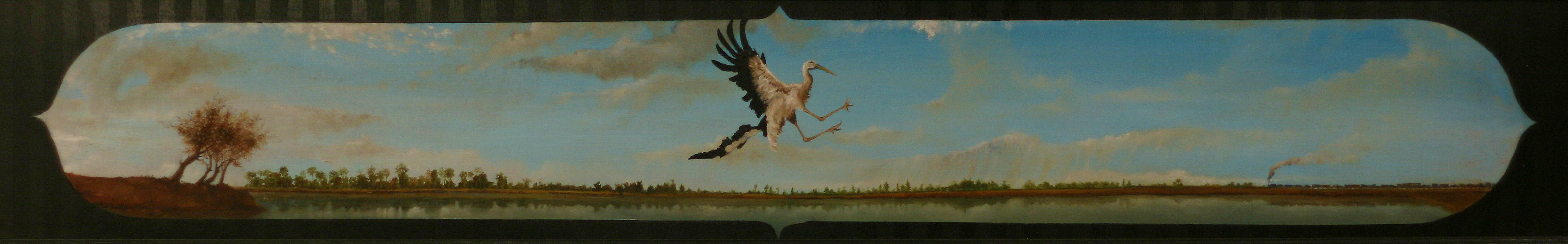 """Marshes"" 8x36 oil and acrylic on wood 2010"