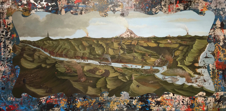 """""""Cascadia"""" 48x24 oil and acrylic on wood 2016"""