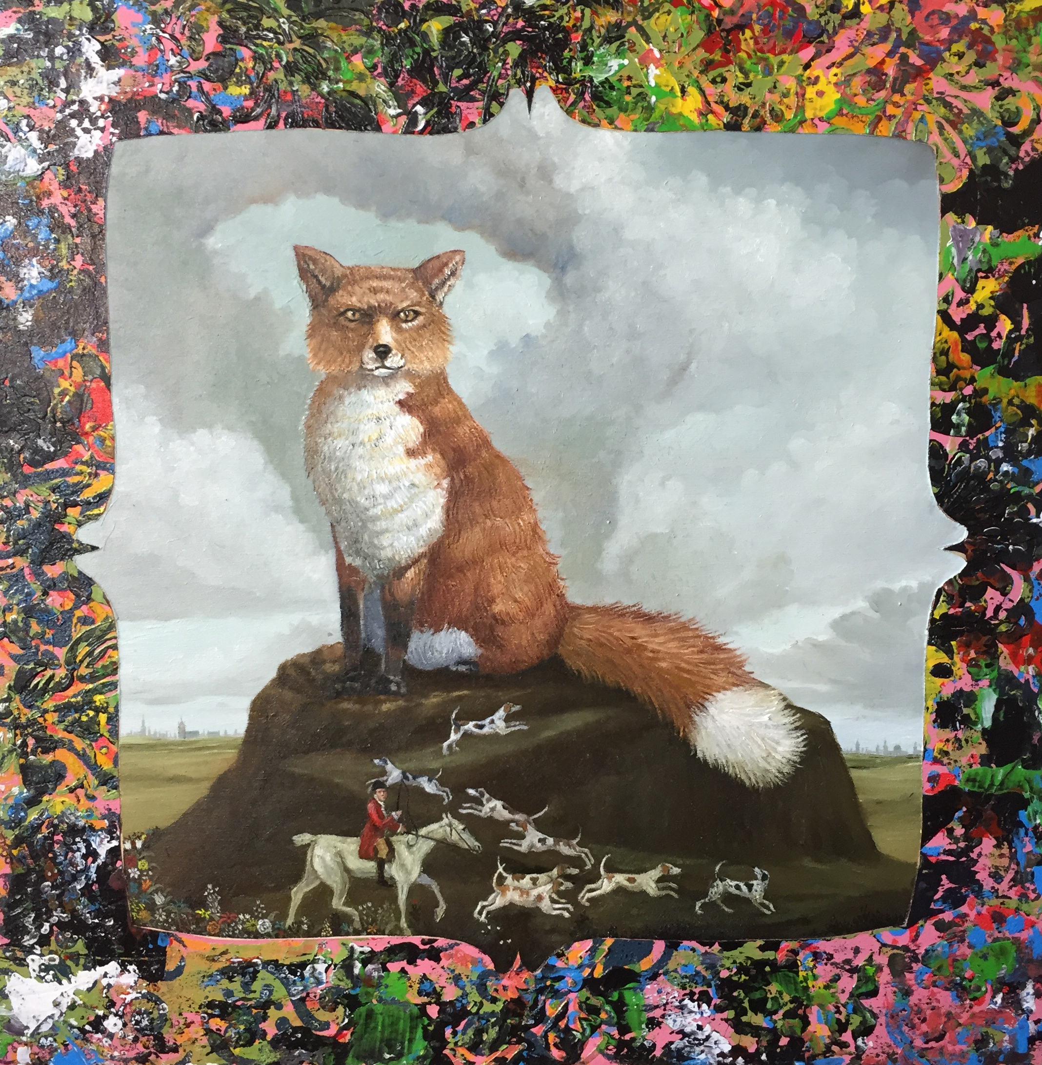 Fox Hunt 12x12 inches oil&acrylic on wood 2017
