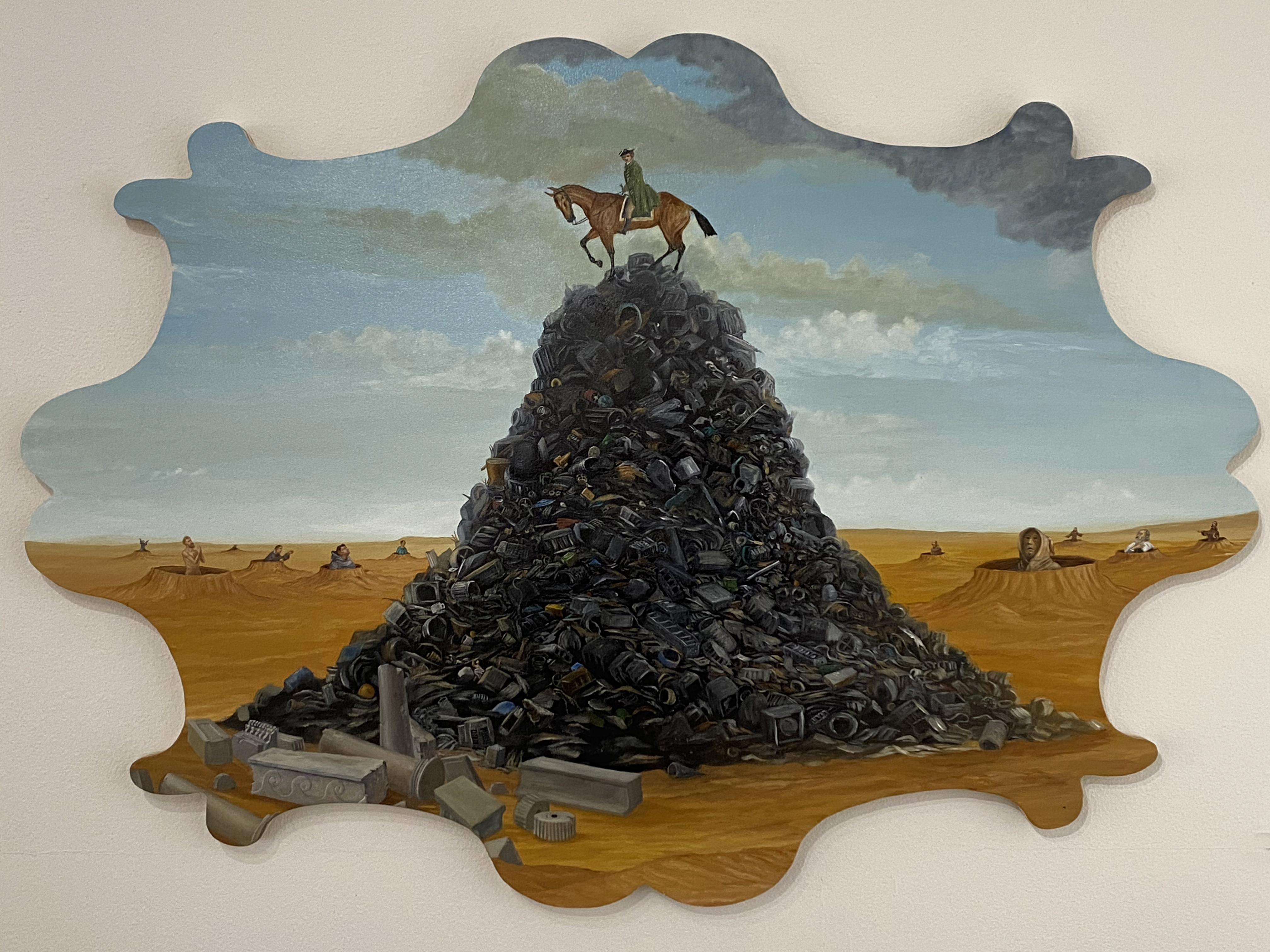 """Prayers For Trash"" oil on wood"