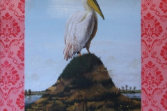 """Pelican"" 48x48 oil and acrylic on wood 2010"